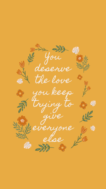 Gold Illustration Playful Love Quote Phone Wallpaper